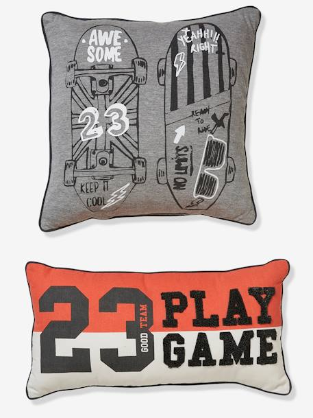Set of 2 Cushions, Skateboard ORANGE BRIGHT SOLID WITH DESIG
