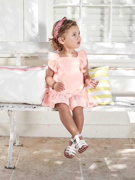 Dress with Ruffles, for Baby Girls ORANGE BRIGHT SOLID+WHITE LIGHT ALL OVER PRINTED