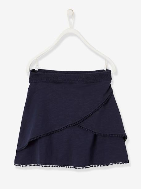 Skort with Pompons, for Girls BLUE DARK SOLID+GREEN DARK ALL OVER PRINTED+WHITE LIGHT STRIPED