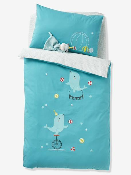 Pillowcase for Babies, BABY CIRCUS BLUE MEDIUM SOLID WITH DESIGN