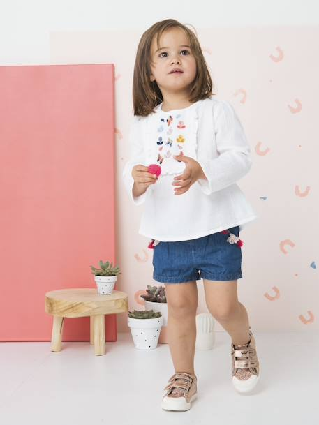 Embroidered Blouse with Stylish Ruffles for Girls WHITE LIGHT SOLID WITH DESIGN