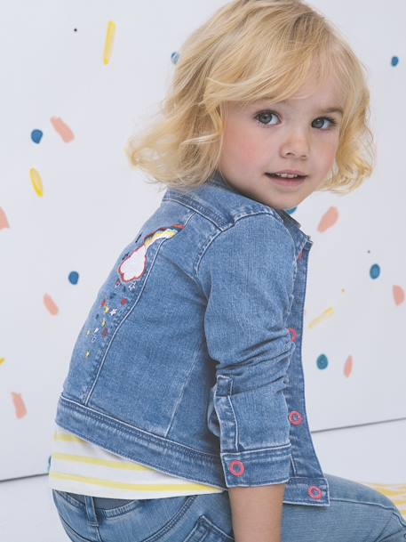 Denim Jacket with Iridescent Graffiti & Embroidered Patch for Girls BLUE DARK WASCHED