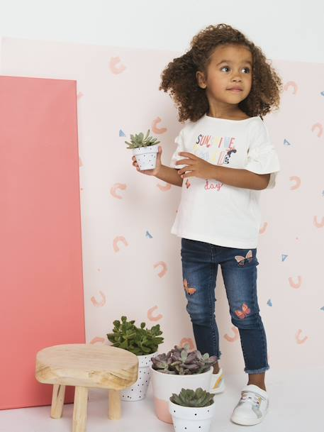 Slim Leg Jeans with Embroidered Butterflies for Girls BLUE DARK SOLID