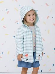 Girls-Coats & Jackets-Striped Windcheater with Hood, for Girls
