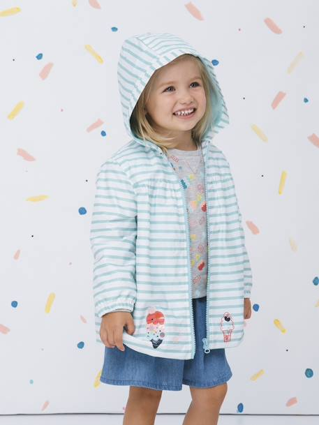 Striped Windcheater with Hood, for Girls BLUE LIGHT STRIPED
