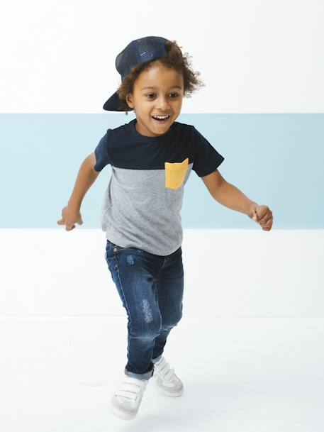 Pack of 3 Short-Sleeved T-Shirts for Boys BLUE DARK TWO COLOR/MULTICOL+WHITE LIGHT TWO COLOR/MULTICOL+YELLOW LIGHT SOLID WITH DESIGN