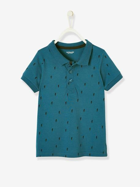 Printed Polo Shirt, for Boys BLUE DARK ALL OVER PRINTED+GREY LIGHT MIXED COLOR+WHITE LIGHT ALL OVER PRINTED