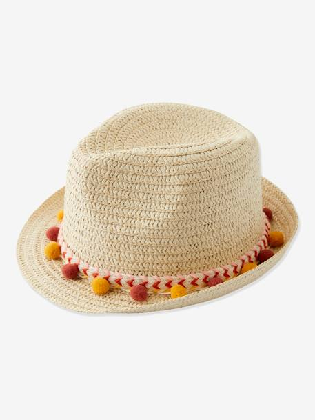 Panama-Type Straw Hat with Ribbon & Pompons for Girls ORANGE MEDIUM SOLID