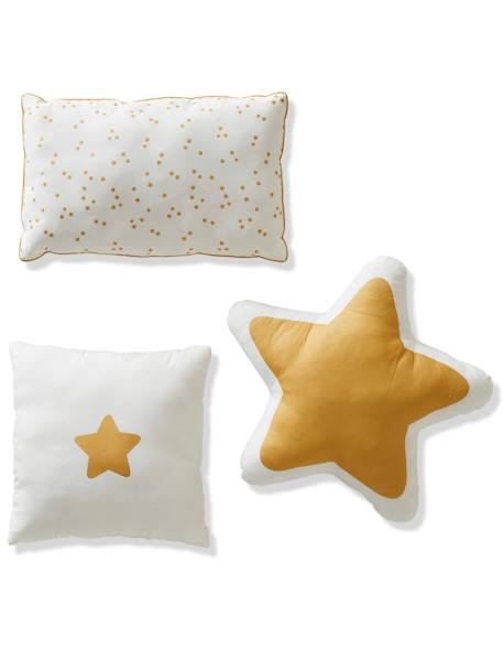 Pack of 3 Golden Cushions WHITE LIGHT SOLID WITH DESIGN