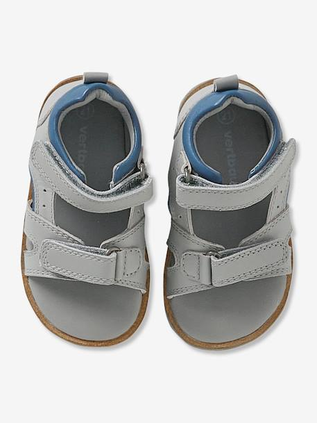 Touch-Fastening Leather Sandals for Boys GREY LIGHT SOLID