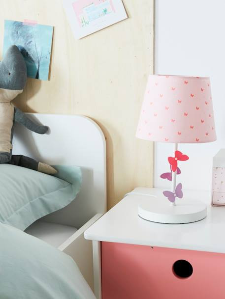 Butterflies Bedside Table Light PINK LIGHT SOLID WITH DESIGN