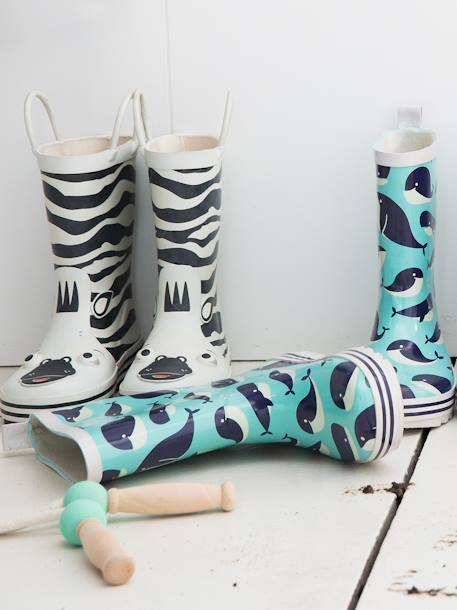 Wellies in Natural Rubber for Boys BLUE LIGHT ALL OVER PRINTED