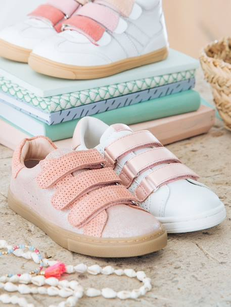 Leather Trainers with Touch-Fastening Tab for Girls PINK LIGHT SOLID+WHITE LIGHT SOLID WITH DESIGN