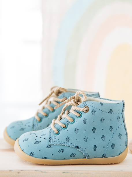 Leather Ankle Boots for Baby Boys, Designed for First Steps BLUE MEDIUM ALL OVER PRINTED+YELLOW MEDIUM ALL OVER PRINTED