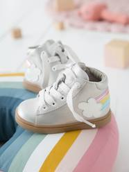 Shoes-Baby Footwear-Baby Girl Walking-Iridescent Leather Trainers for Baby Girls