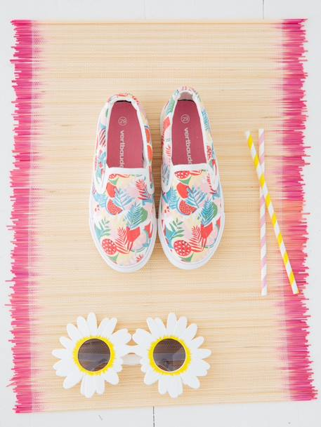 Slip-On Trainers for Girls RED BRIGHT SOLID+WHITE LIGHT ALL OVER PRINTED