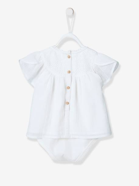 Occasion Wear Blouse-bodysuit, Lace Neckline, for Baby Girls WHITE LIGHT SOLID
