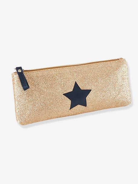 Pencil Case with Glittery Star for Girls BEIGE MEDIUM SOLID WITH DECOR