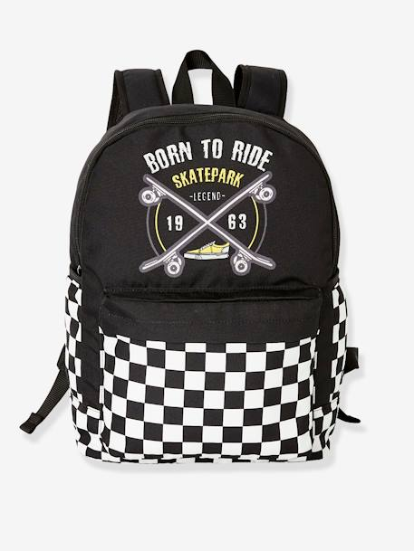 Backpack with Skateboard, for Boys BLACK DARK SOLID