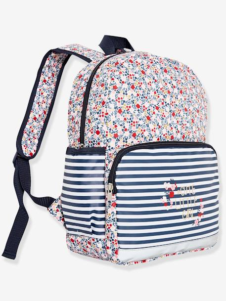 Backpack with Flowers Motif for Girls PINK LIGHT SOLID