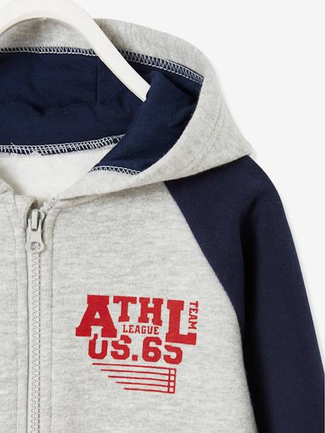 Zipped Jacket with Hood for Boys BLUE DARK SOLID WITH DESIGN+GREY LIGHT MIXED COLOR+RED DARK SOLID WITH DESIGN
