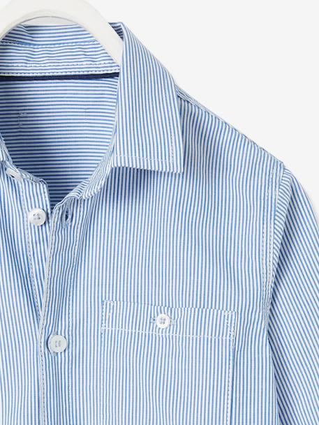 Striped Shirt with Large Motif on the Back BLUE MEDIUM STRIPED