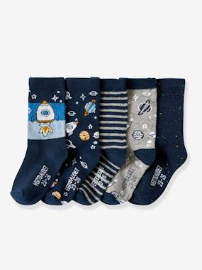 Click to view product details and reviews for Pack Of 5 Pairs Of Fancy Socks Blue Dark Two Color Multicol.
