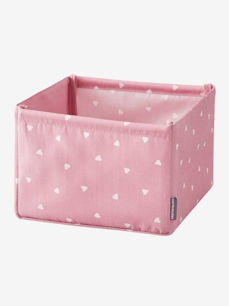 Small Storage Box in Fabric GREY DARK ALL OVER PRINTED+GREY LIGHT SOLID+PINK LIGHT SOLID+YELLOW MEDIUM SOLID