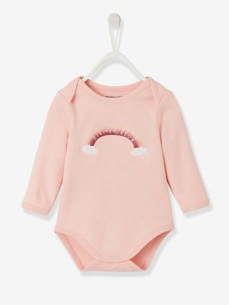 Long-Sleeved Bodysuit for Babies, in Pure Cotton BLUE LIGHT SOLID WITH DESIGN+PINK LIGHT SOLID WITH DESIGN