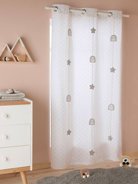 Sheer Curtain, Cute Hedgehog WHITE LIGHT ALL OVER PRINTED