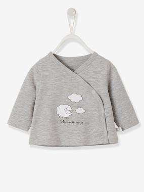 Wrap Over Jacket For Newborn Babies Grey Light Mixed Color