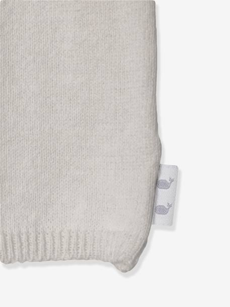 Baby Trousers in Pure Cotton Marl Knit, Organic Collection Pale grey+White