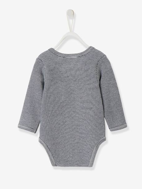 Long-sleeved Bodysuit in Pure Cotton, for Babies BLUE DARK STRIPED+PINK LIGHT STRIPED