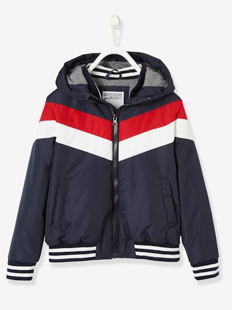 Jacket with Hood & Colourblock Effect for Boys BLUE DARK SOLID WITH DESIGN