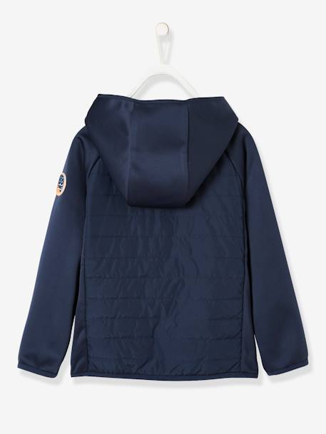 Sports Jacket With Hood, for Boys BLUE DARK SOLID WITH DESIGN