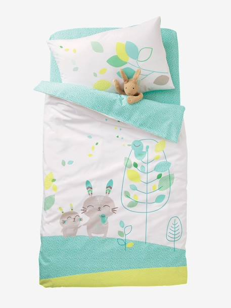 Baby Fitted Sheet, Northern Dream  Theme Green/white
