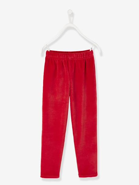 Velour Pyjamas for Boys RED DARK SOLID WITH DESIGN