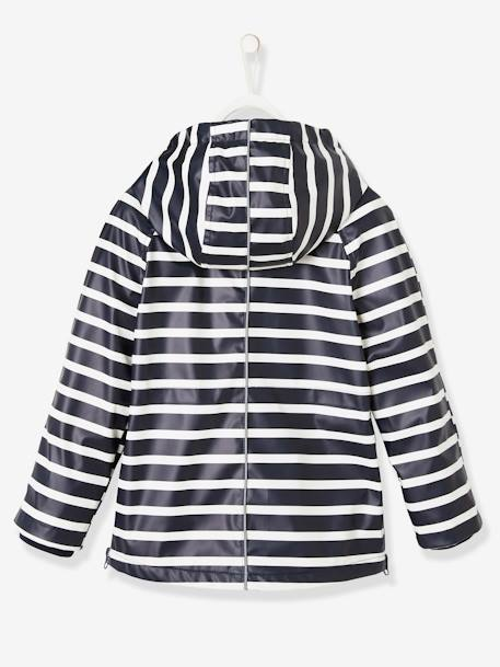 Windcheater with Hood, for Boys BLUE DARK STRIPED+ORANGE MEDIUM SOLID WITH DESIG