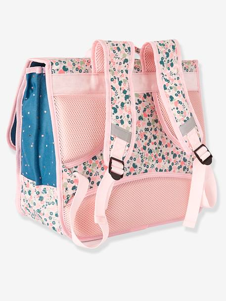 Satchel & Matching Pencil Case for Girls, Floral Motifs PINK LIGHT SOLID