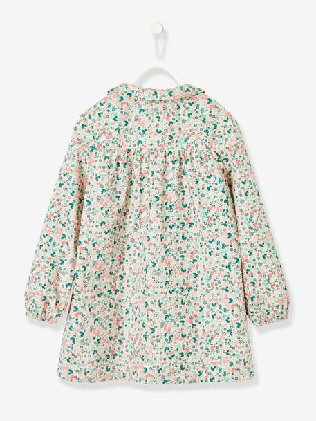 Smock with Floral Print for Girls PINK MEDIUM SOLID