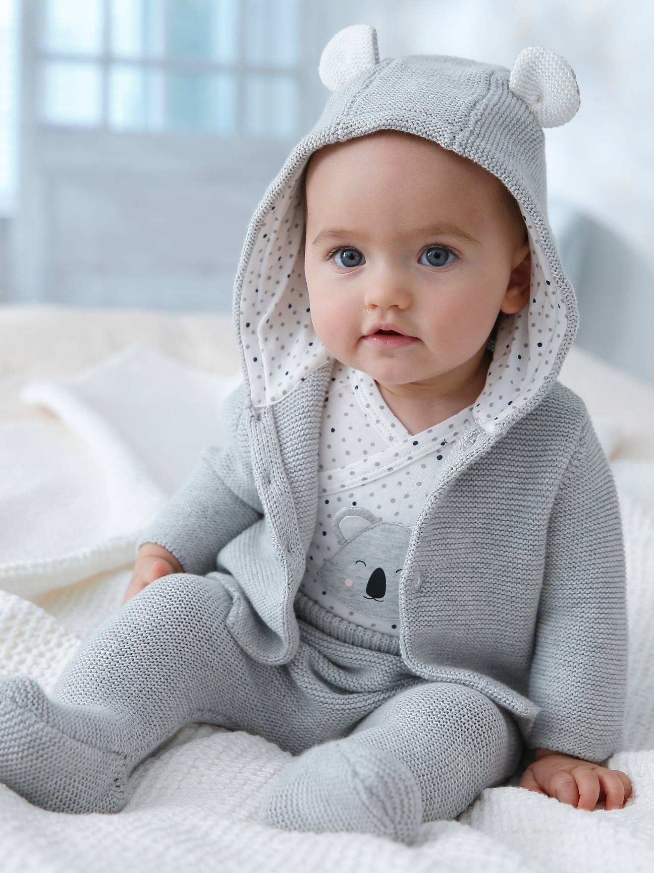 6-Piece Outfit Gift for Newborn Babies - grey light solid
