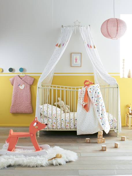 Diamond & Pompom Curtain Ecru