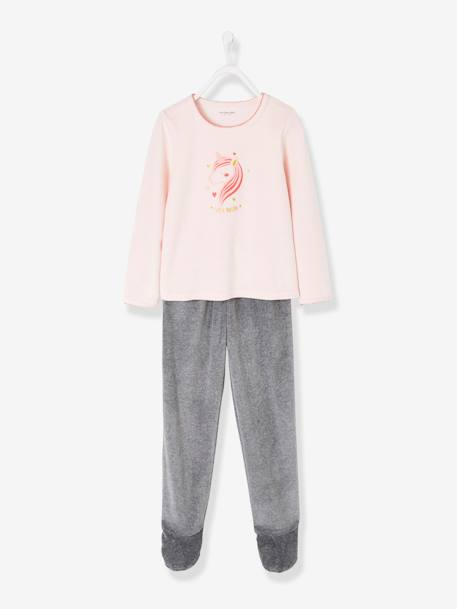 Velour Footed Pyjamas for Girls PINK LIGHT SOLID WITH DESIGN