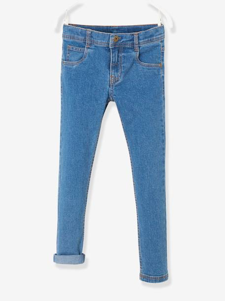 Boys' Slim Fit Stretch Jeans BLUE DARK WASCHED+Untreated