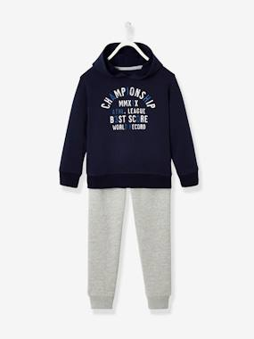 Sports Combo Hooded Sweatshirt Joggers For Boys Blue Dark Solid With Design