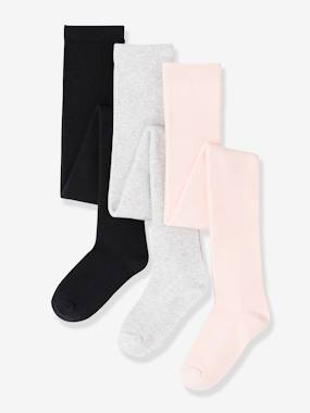 Girls Pack Of 3 Pairs Of Jersey Knit Fabric Tights Beige Medium Two Colors Multic