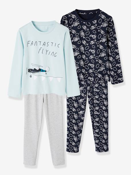 2 Sets of Pyjamas for Boys, in Cotton BLUE LIGHT TWO COLOR/MULTICOL