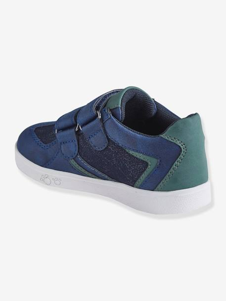 Trainers with Touch-Fastening Tabs for Boys, Designed for Autonomy BLUE DARK SOLID WITH DESIGN+WHITE LIGHT SOLID WITH DESIGN