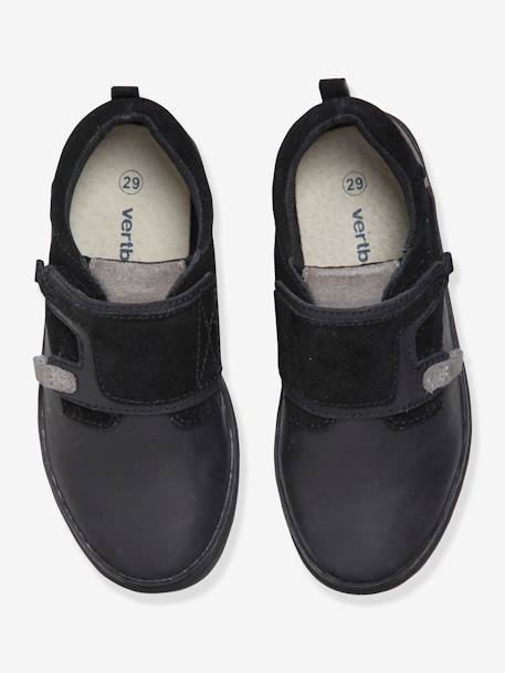 Leather Trainers with Touch Fasteners, for Boys BLACK DARK SOLID+BLUE MEDIUM SOLID