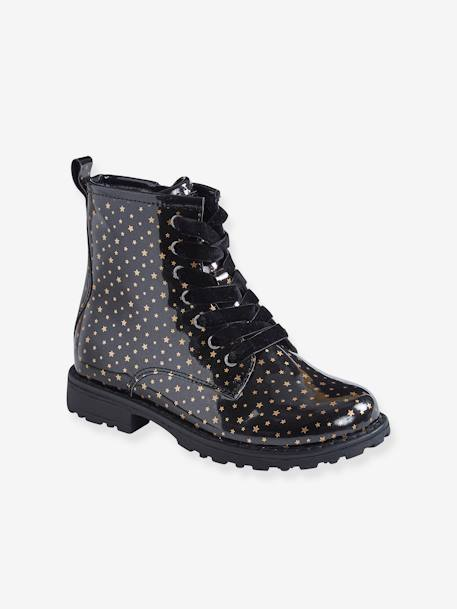 Girls' Lace-Up Ankle Boots BLACK DARK ALL OVER PRINTED+Metallic navy